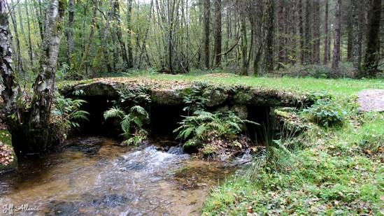 Photo fiche road-trip N° 12_1047_1 - Le pays de Ventadour - Pont de pierres plates des Plas - Bonnefond - 19170